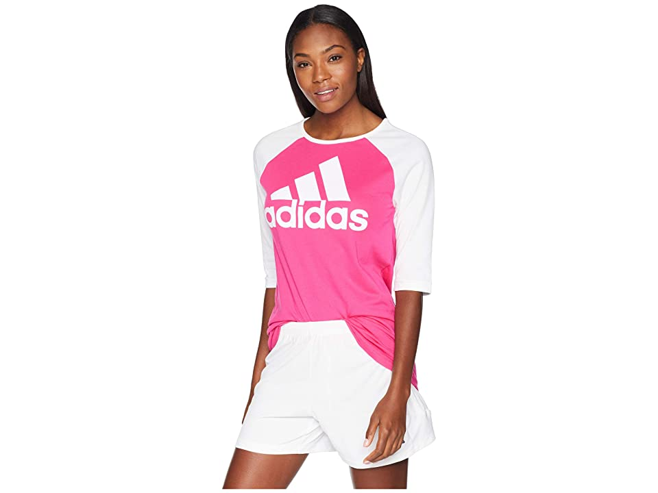 adidas Sport ID Baseball T-Shirt (Real Magenta/White) Women