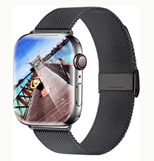Yaber Stainless Steel Mesh with Adjustable Magnetic Closure Replacement Band Compatible for Apple Watch Series 5/4/3/2/1 (Space Gray, 42MM/44MM)