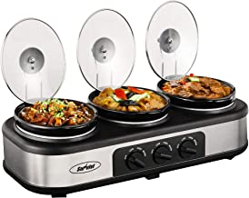 Triple Slow Cooker Buffet Server, 3 Pot Crock Pot Food Warmer, 4.5 QT Food Warmer Adjustable Temp Lid Rests Stainless Steel