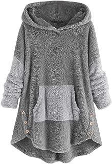 Ros1ock_Women's Tops Fleece Patchwork Plush Button Hem Plus Size Hoodie Top Sweater Blouse