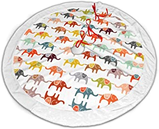 LIMENGYAND Elephant March Christmas Tree Skirt Classic Holiday Decorations 30 36 48 Inc,Small Christmas Tree Skirt Gold Red for Party Holiday Decorations Xmas Ornaments