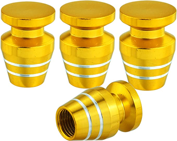 Arenbel Tire Valve Caps 4 Pack Universal Metal Heavy-Duty Stem Covers for Cars SUVs Screw-On Wheel caps Bike and Bicycle Cylinder Shape Valve Stem Caps Deep Blue Motorcycles Trucks