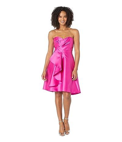 Adrianna Papell Strapless Sweetheart Neckline Ruffle Cocktail Dress (Magenta) Women