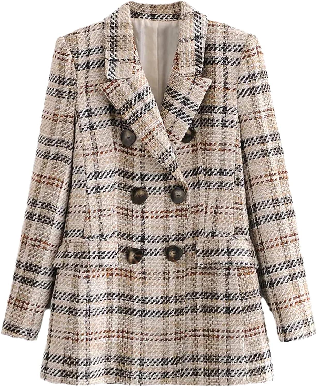 Spring Autumn Plaid 2 Piece Set Women Double Breasted Vintage Blazer Suits Button Skirt Shorts Sets