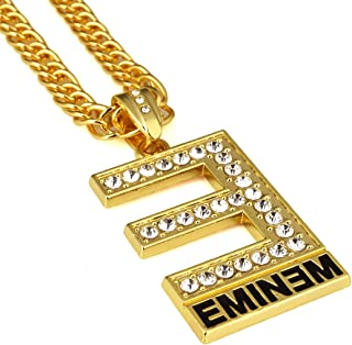 Men's Cuban Chain 18K Gold Plated CZ Fully Iced Out Eminem Alloy Pendant