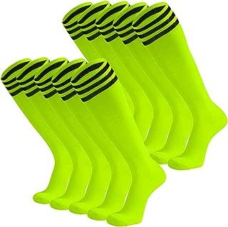Unisex Soccer Socks Knee High Stripe Football Tube Socks 2,6,10 Pack