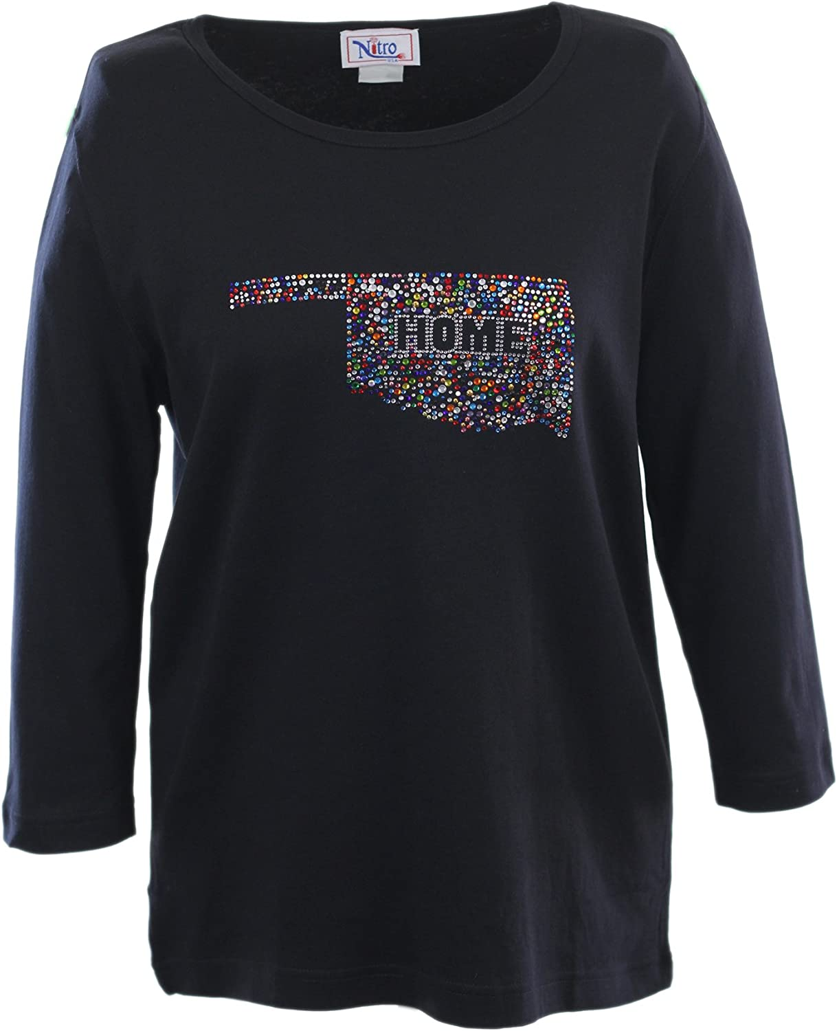 Nitro USA NCAA Womens Crewneck 3//4 Sleeve Top with Bling State Home Confetti