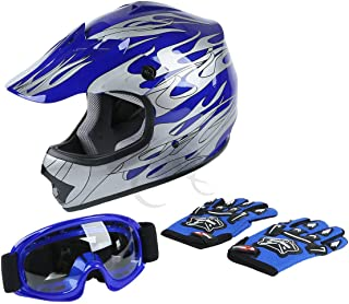 TCT-MT DOT Helmet Motocross+Goggles+Gloves Youth Kids Helmet Blue Flame Dirt Bike ATV Helmets Large
