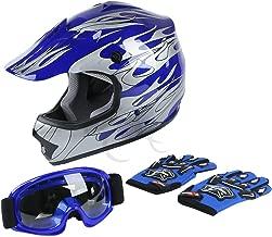 TCT-MT DOT Helmet Motocross+Goggles+Gloves Youth Kids Helmet Blue Flame Dirt Bike ATV Helmets Large