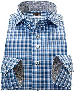 [スタイルワークス] シャツ 国産 長袖 綿100%ドレスシャツ スリムフィット カッタウェイワイド ブルー マドラスチェックメンズ