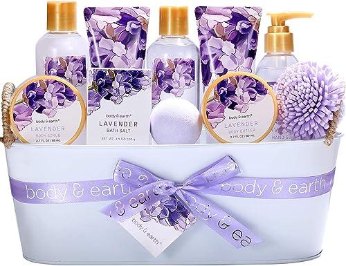 Coffret de Bain & Douche pour Femme, Body&Earth 11 Pièces Coffret Cadeau au Parfum de Lavande, avec Panier Décoratif,...