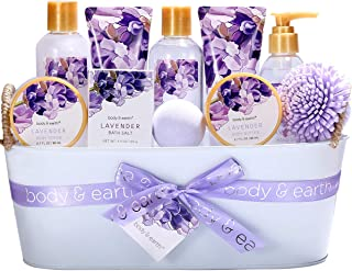 Bath Spa Gift Basket, Body & Earth Bath Gift Set 12 Pcs Lavender Scented, Includes Shower Gel, Bubble Bath, Bath Salt, Bath Bomb, Body Lotion and More, Bath and Body Gift Idea for Mother's Day