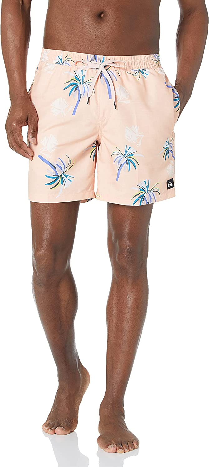 New Free Shipping Quiksilver Men's Standard 17 Inch Swim Elastic Trunk Free shipping anywhere in the nation Waist Bathi