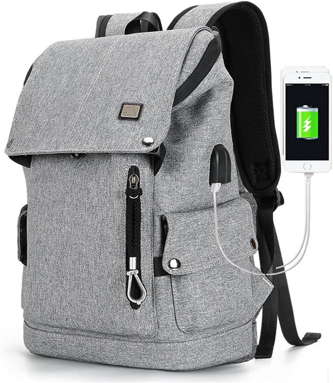 QGSDR Neue USB Lade Rucksack Mens Fashion Rucksack Wasserdichte Rucksack Laptop
