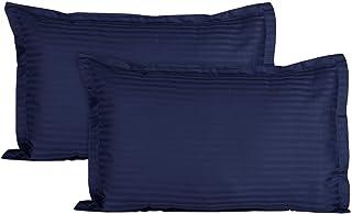 """AEROHAVEN™ Glorious 210TC 100% Striped Satin Cotton Pillow Cover Set - 18"""" x 28"""" (Navy)"""