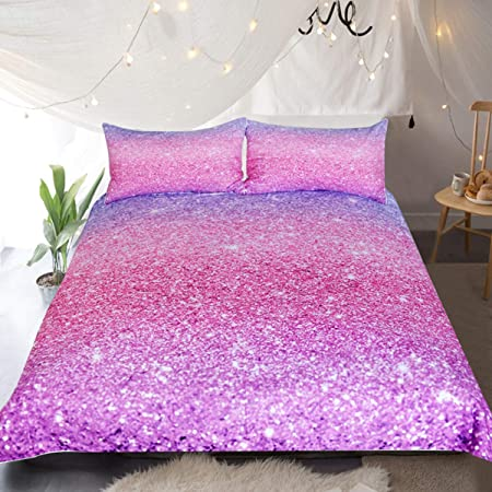 Sleepwish Glittery Bedding Set Colorful Abstract Glitter Purple And Pink Duvet Cover 3 Pieces Girls Sparkly Pastel Ombre Bed Set Twin Amazon Co Uk Kitchen Home