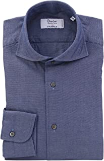 (フェアファクス) FAIRFAX ネイビー系 無地 デニム風 製品洗い ホリゾンタルワイドカラー 綿100% イタリア アルビアーテ生地使用 (細身) ドレスシャツ w1844