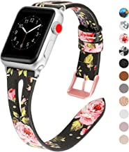 MEFEO Leather Bands Compatiable for Apple Watch Band 38mm 40mm 42mm 44mm, Slim Strap with Breathable Hole Wristband Replacement for iWatch Series 5 4 3 2 1, Sport, Edition