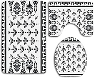 huachuangxinlHUQ Retro Greek Pattern Background Soft Comfort mat Anti-Skid Absorbent Toilet Seat Cover Bath Mat Lid Cover 3pcs/Set Rugs