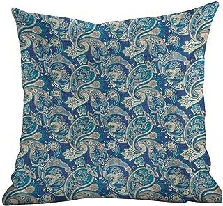 Matt Flowe Custom Pillowcase Paisley,Authentic Asian Inspired Floral Persian Fashion Boho Art Illustration Print,Teal Navy and Tan,Square Pillowcase Throw Cushion by Cushion Cover 18