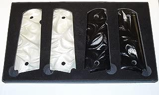 Premium Gun Grips (1) Black (1) White Set of 1911 Pearl Gun Grips Colt Gov. & Clones Taurus, S&W, Springfield, Rock Island Mother of Pearl Full Size