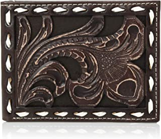 Ariat Men's Floral Embossed with Buckstitch Lace Bifold Wallet