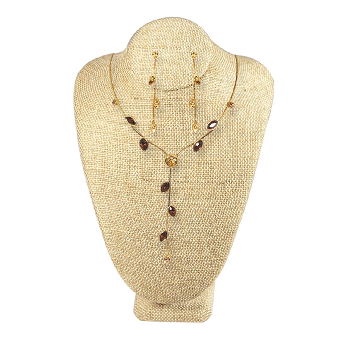 Ikee Design Wooden Lined Covered Jewelry Necklace Display Bust