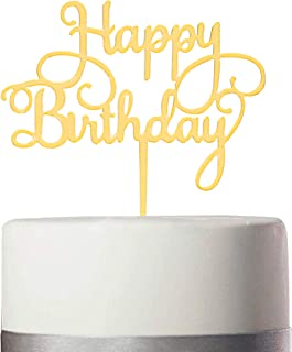 Fst EGO Happy Birthday Cake Topper Golden - Acrylic Cake Topper Suitable for 6-10 Inch Cakes, Decorate Birthday Party for Your Friends And Family (happy birthday letter)