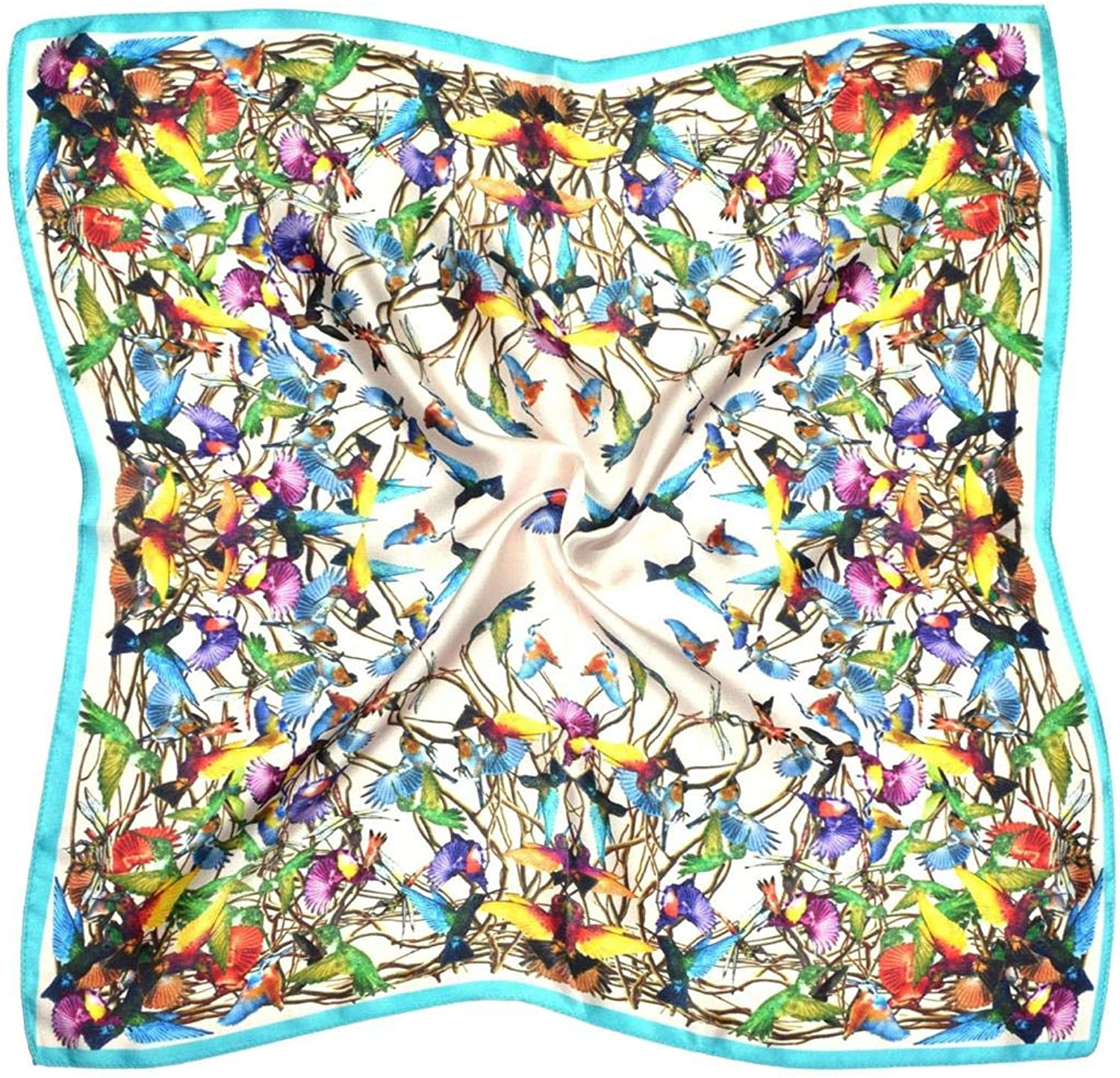 bluee White Birds Thick Silk Small Square Scarf