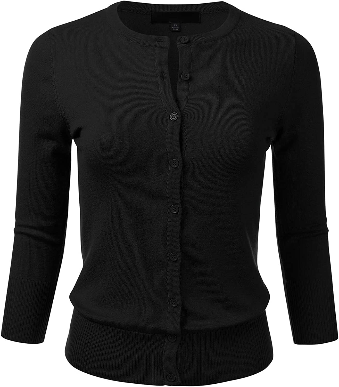 FLORIA Women's Button Down 3/4 Sleeve Crew Neck Knit Cardigan Sweater (S-3X)