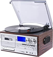 JORLAI Vinyl Record Player 8 in 1 3 Speed Bluetooth Vintage Turntable CD Cassette Player AM/FM Radio USB Recorder Aux-in RCA Line-Out