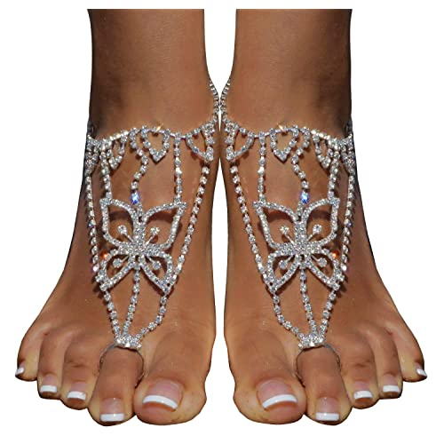 50792b3f2ce4 2 Pieces Women s Foot Chain Barefoot Sandals Beach Wedding Jewelry Anklet  with Rhinestone Toe Ring