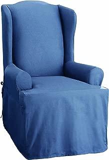SureFit Duck Solid - Wing Chair Slipcover - Bluestone