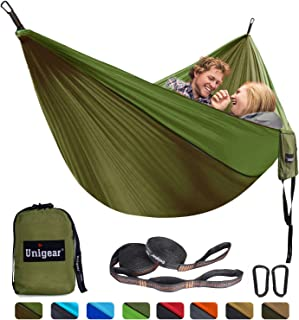Unigear Hammock, Single & Double Camping Hammock, Portable Lightweight Parachute Nylon Hammock with Tree Straps for Backpacking, Camping, Travel, Beach, Garden