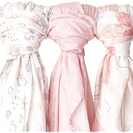Kids N' Such Extra-Large Muslin Baby Swaddle Blanket, Mystical, 47 x 47, 3 Pack