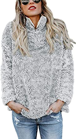 TSWRK Giacca Donna Elegante, Donna Felpa Senza Cappuccio Maglione Inverno Caldo Lana Cerniera Outwear Pile Pelliccia Inverno Manica Lunga