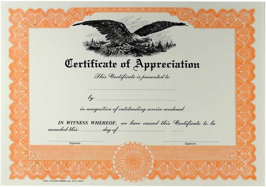Blank Certificate of Appreciation online shop Pack 100 67% OFF fixed price Orange