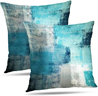 Alricc Turquoise Throw Pillow Covers 20×20 Teal, 2 Pack Square Decorative Pillow..