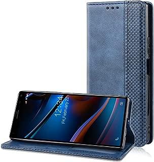 au xperia 8 ケース 手帳型 NTTドコモ Sony xperia 8 SOV42 ケース 手帳型 xperia 8 カバー スタンド機能付き マグネット付き カード収納 高級PU合成レザー 耐衝撃 人気 おしゃれ シンプル かわいい 純色 xperia 8 手帳型ケース xperia 8 スマホケース ネービー