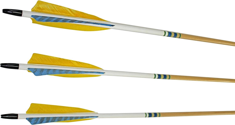 (0.9cm Diameter 2023kg Spine, Clear Lacquer Shaft)  pink City Archery Port Orford Cedar Hunter Elite Arrows with 13cm Length Shield Cut Fletch (12Pack)