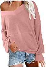 TIFENNY Women's Sweater Baggy V Neck Long Sleeve Pinstripe Knit Tops Autumn Off Shoulder Pullover Tops Blouse