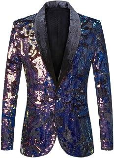PYJTRL Men Fashion Purple Colorful Velvet Sequins Blazer