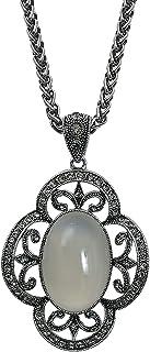 MOONSTONE Fashion Jewelry Pendant for Women, Pretty Clover Shape Semi-Precious Stone Long Chain