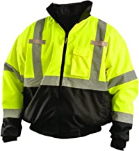 OccuNomix LUX-ETJBJR-BYXL High Visibility 3-in-1 Fleece Lined Black Bottom Bomber Jacket with Roll-Away Hood, Removable Lining and 6 Pockets, Class 3, 100% ANSI Polyester, X-Large, Yellow