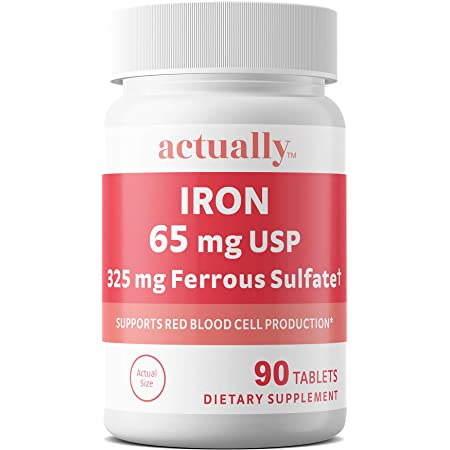 Actually Iron 65mg USP, 325mg Ferrous Sulfate Tablets, Support Red Blood Cell Production for Adults, Day Supply, 90 Count