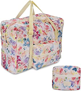 Foldable Travel Tote Bag Waterproof High Capacity Portable Storage Luggage Bag (Pink Floral)