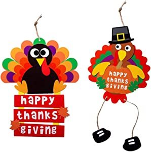 Thanksgiving Decorations Clearance - Thanksgiving Turkey Crafts Kits, DIY Festive Fall Thanksgiving Party Hanging Sign Decor Turkey Decoration Paper Crafts Door Hanging and Thanksgiving Cards