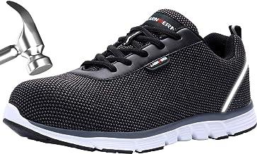 LARNMERN Zapatos de Seguridad Hombres Mujer LM30 S1 SRC Zapatillas de Trabajo con Punta de Acero Ultra Liviano Reflectivo Transpirable