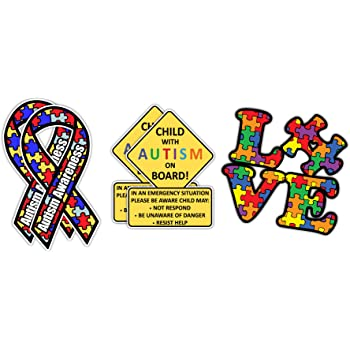 Autism Awareness Sticker Roll 500 Pieces Autism Stickers Autism Round Decals in 8 Pattern for Autism Awareness Themed Party Charitable Activities Seal Stickers Decoration
