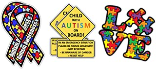 Child with Autism on Board Car Truck Decal Alert Responders   Autism Awareness Puzzle Piece Car Decal Sticker   Autism Awareness Ribbon car Bumper Sticker
